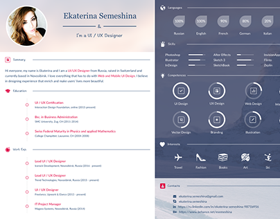 Captivating UI / UX Designer Curriculum Vitae On Behance
