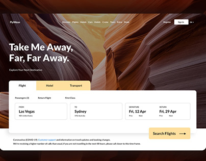 Travel app web design