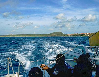 Sailing with Catamaran to Klein Curacao ,Dutch Antilles
