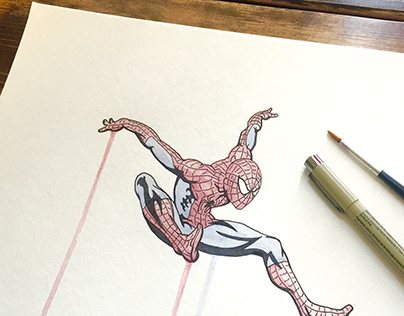 Spiderman, Ink & Watercolor