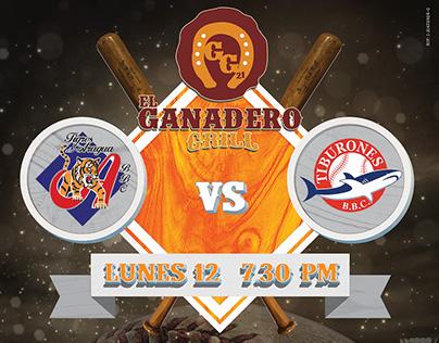 Baseball Games broadcast - Ganadero Grill's Poster