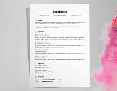 Pablo Picasso - FREE resume/CV template | AI