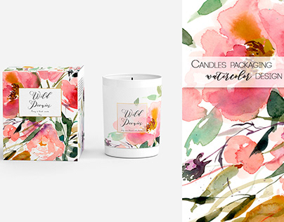 """Watercolor packaging for candles collection """"Floreal"""""""