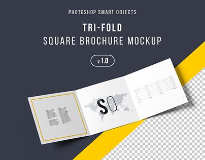 Square Trifold Brochure Mockup - PSD