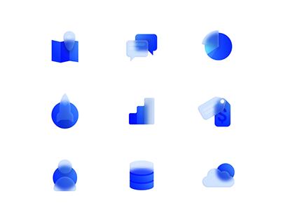 Glass icon set