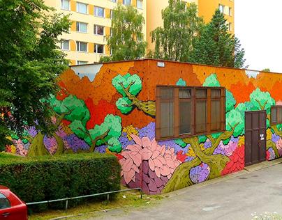 ''Garden'' mural at Lublinska, Praha, Czech republic