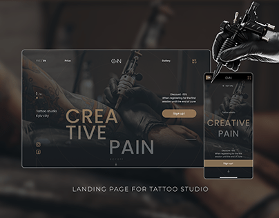 Landing page for Tattoo studio