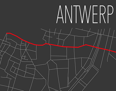 Minimalistic map of Antwerp, Belgium