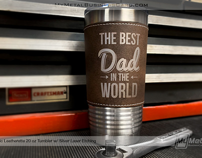 Rustic Leatherette Tumbler with Silver Laser Etching