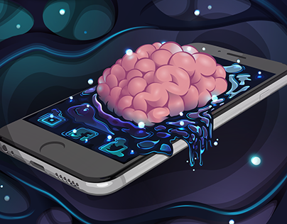 Iphone Brain - Vector illustration