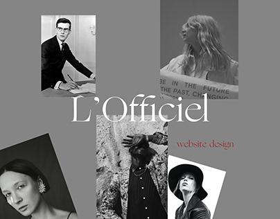 L'officiel magazine website design