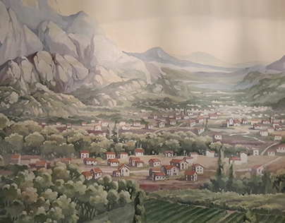 Wall painting in dining room