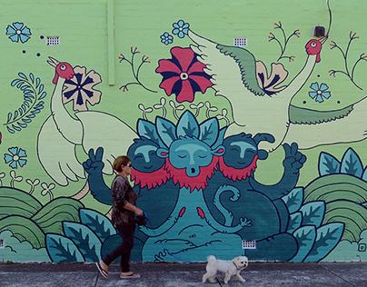 Meditating Monkeys Mural