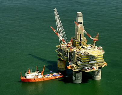 Oil Rig Platform in the Middle of the Sea