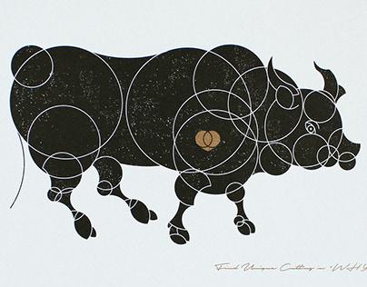 "Circle animals ""ox""/New Years Card"