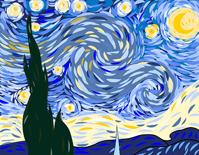The Starry Night created with Illustrator on iPad