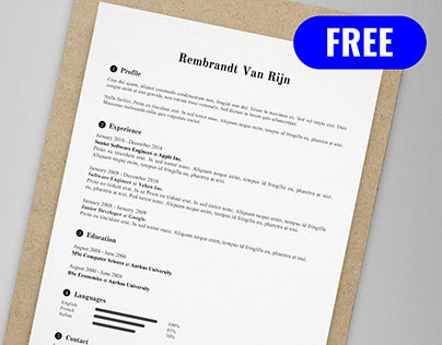 Rembrandt Van Rijn - FREE resume/CV template | AI