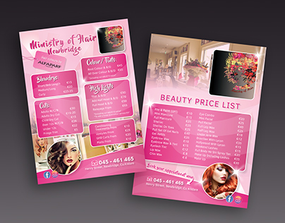 Ministry Of Hair flyer and appointment card design