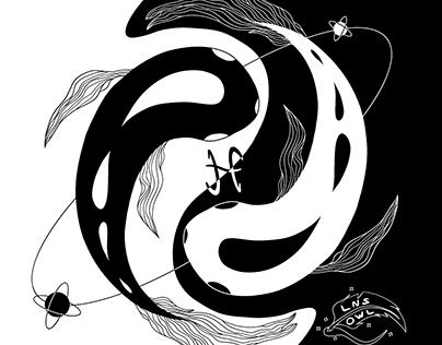 "Pisces Illustration / Иллюстрация знака зодиака ""Рыбы"""