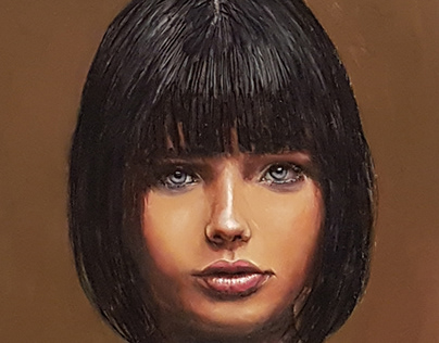 Girl wih bobbed hair. Oil on panel 11x11 inches.