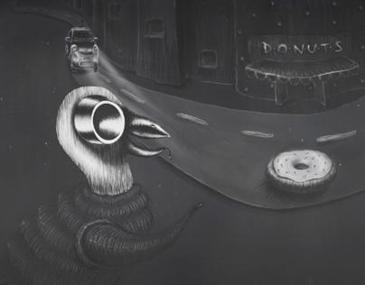 Donut vs. Pigeon (schoolwork)