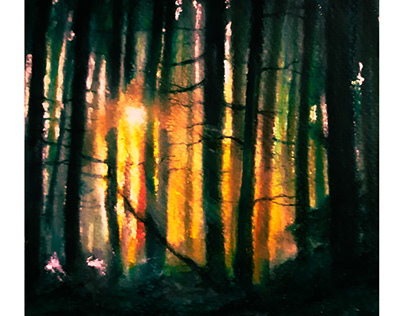 watercolor painting ' MISTY FOREST'