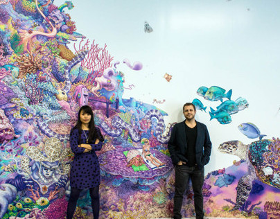 """""""Underwunderland"""" mural in the office of The Audience"""