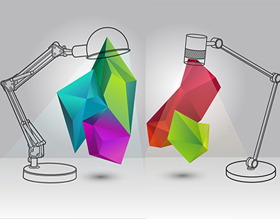 Illustration of the lamp with 3d elements
