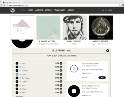 ERASED TAPES website