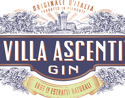 Villa Ascenti Gin Label Illustrated by Steven Noble