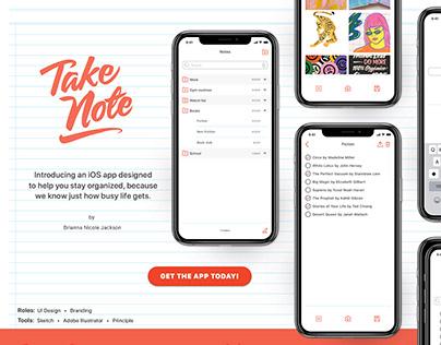 Take Note iOS app