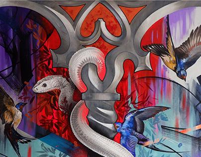 """WINDOW TO THE GARDEN"" . ACRYLIC PAINTING. VISUAL ART."