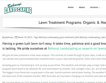 Lawn Treatment Programs - Bohonyi Landscaping