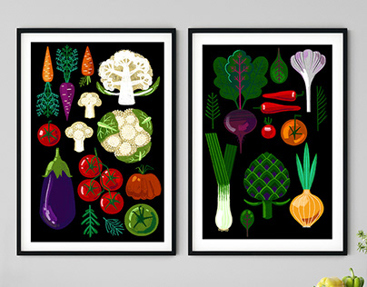 Modern flat vegetables and herbs.