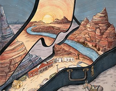 """Gringo Honeymoon"", Garden & Gun Editorial Illustration"