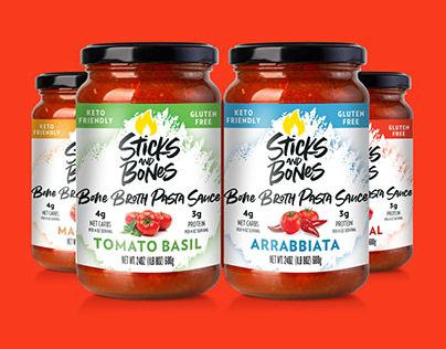 Sticks & Bones Bone Broth Pasta Sauce Packaging Design
