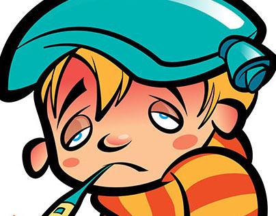 Cartoon sick boy... :(