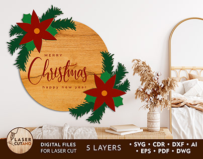 MERRY CHRISTMAS Multilayer Laser Cut Files