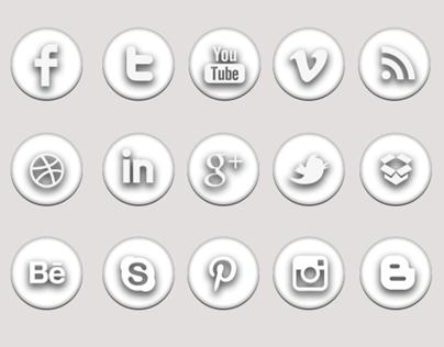Minimal White Social Icons