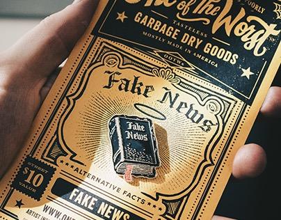 OOTWx Streetwear - FAKE NEWS & SKULL Enamel Pins