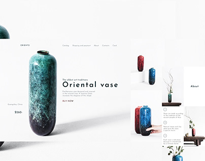 Main page for oriental vases store website