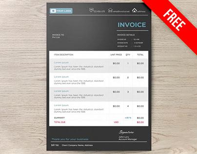 Dark Invoice - free Google Docs Template
