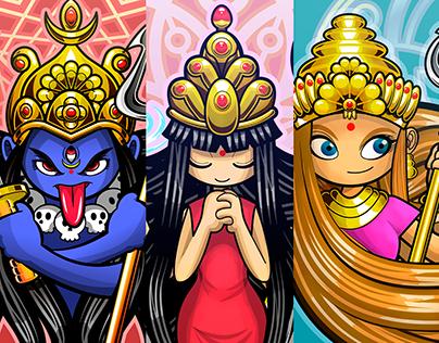 Durga, Parvati y Kali. Diosas Hindúes