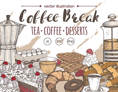 Coffee break illustration set