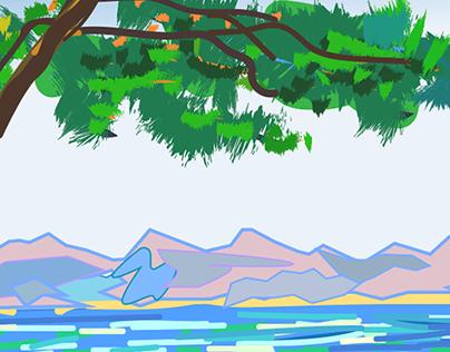 Graphic Interpretation of Monet's Antibes