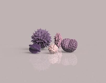 Pollen spores | Simplex noise over mesh