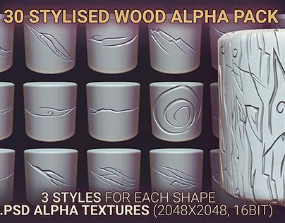 30 Stylised WOOD Alpha Textures