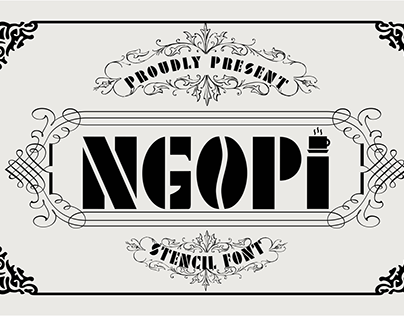 Ngopi | Stencil Font