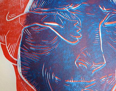 World of dogs \ linoprints