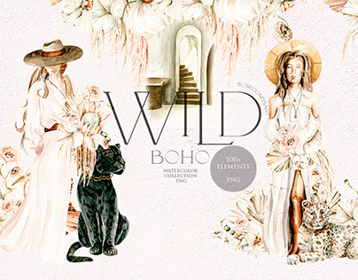 Wild boho girls and wildcat. Watercolor collection